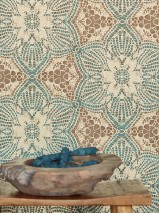 Wallpaper Marrakesh Matt African style Floral damask Pale brown Pearl beige Turquoise blue