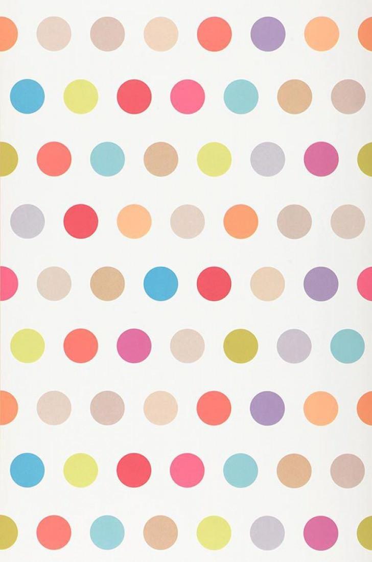 Papier peint elin blanc bleu vert jaune clair orange turquoise pastel rouge violet - Papier peint pois ...