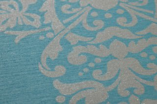 Wallpaper Aramas Matt Looks like textile Baroque damask Turquoise Light beige grey glitter