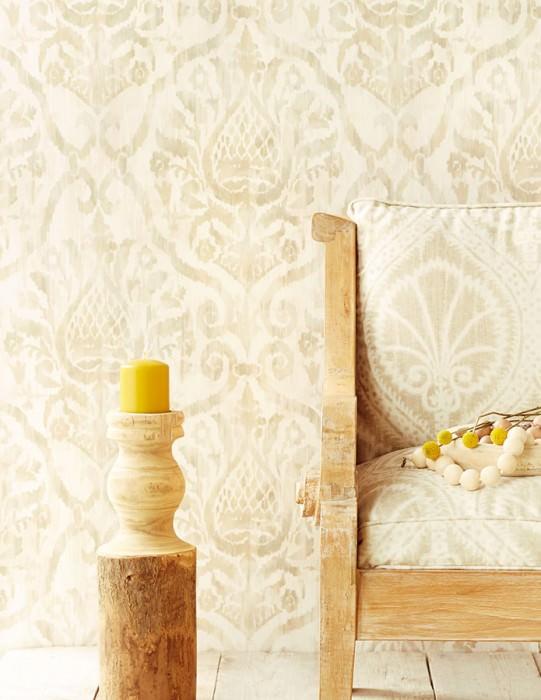 Papel de parede Esiko Mate Damasco floral Bege acinzentado pálido Branco creme Cinza bege