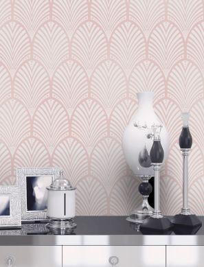 Papel pintado Lyria rosa pálido brillante Ver habitación