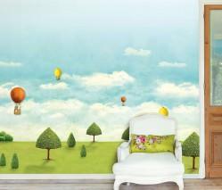 Wallpaper Aurel Matt Trees Hot-air balloons Clouds Yellow green Light blue White Brown Green Orange