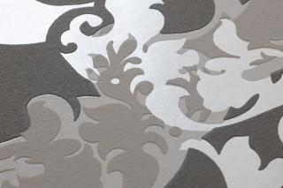 Wallpaper Siemara Shimmering pattern Matt base surface Baroque damask Dark grey Pale light grey Platinum grey White shimmer