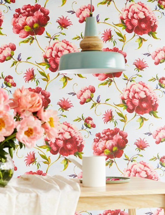 Wallpaper Meila Matt Leaves Flowers Pastel light blue Yellow green Light pink Red Violet blue