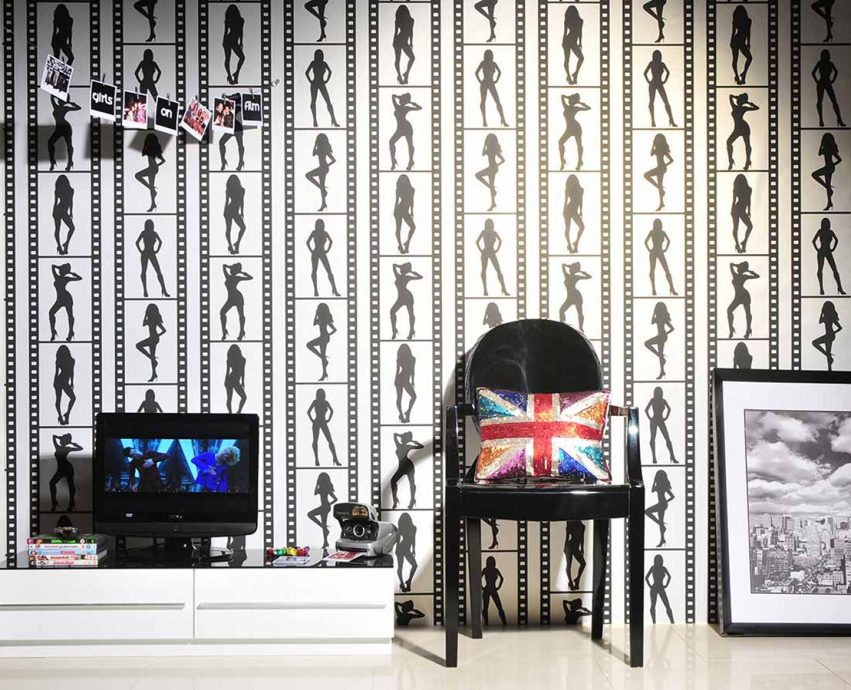 tapete showgirls perlweiss schwarz tapeten der 70er. Black Bedroom Furniture Sets. Home Design Ideas