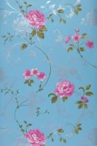 Papier peint Vesta Mat Feuilles Fleurs Damassé floral Bleu pastel Magenta Vert olive Argenté brillant Blanc