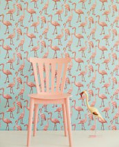 Wallpaper Gisele Matt pattern Shimmering base surface Flamingos Mint turquoise Antique pink Chocolate brown White