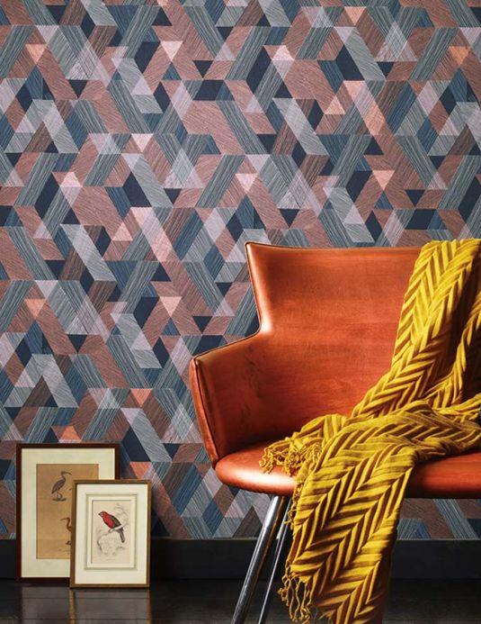 Papel de parede geométrico Papel de parede Pegasus cobre brilhante Ver quarto