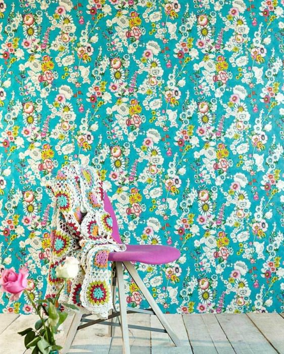 Wallpaper Megara Shimmering pattern Matt base surface Flowers Turquoise blue Blue Yellow Green Oyster white Red