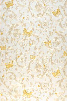 Papier peint Glory beige brillant Largeur de lé