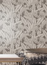 Wallpaper Arlo Shimmering pattern Matt base surface Monkeys Leaves Umbra grey Silver shimmer White