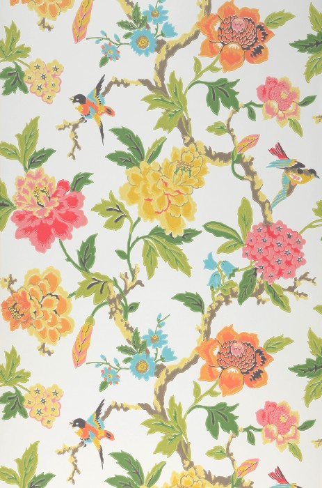Wallpaper Sloana Hand printed look Matt Birds Branches with leaves and blossoms Cream Beige grey Green Light yellow Light pink Orange Turquoise