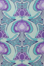 Wallpaper Tereza Matt Retro design Stylised flowers Blue violet Pale green Dark violet Turquoise blue Violet White