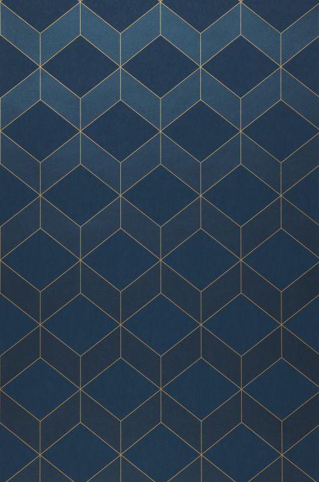 Papel pintado geométrico Papel pintado Barite azul oscuro brillante Bahnbreite