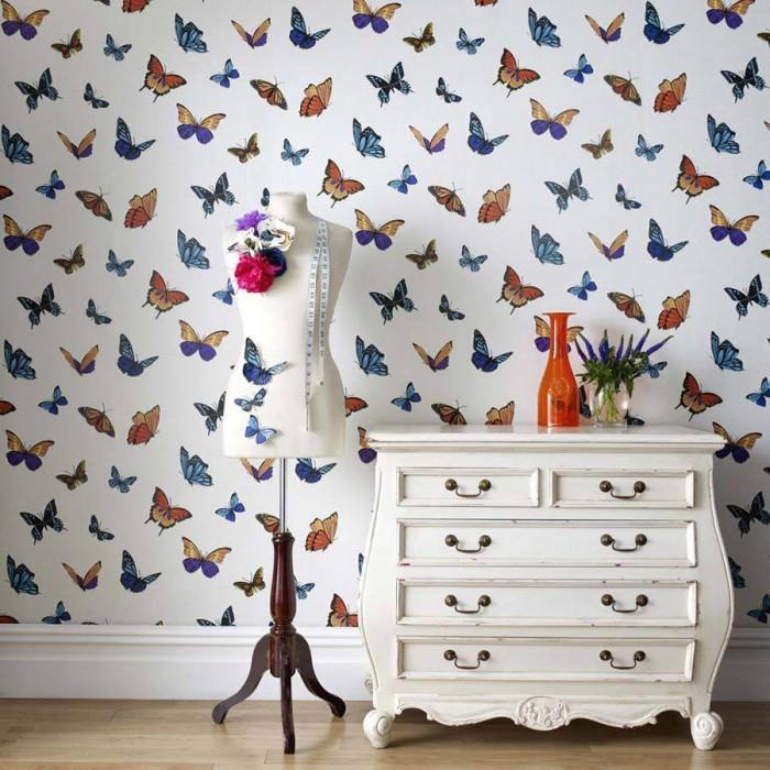Papier peint Lumiere Motif mat Surface chatoyante Papillons Blanc scintillant Bleu clair Orange saumon Noir  Violet