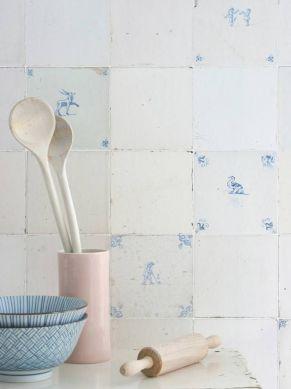 Papier peint Tiles bleu pâle Vue pièce