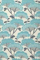 Papier peint Zwegi Mat Arbres stylisés Blanc crème Bleu gris Turquoise