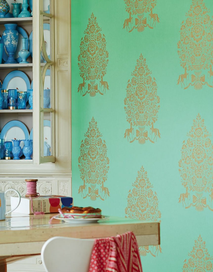 Papel pintado sisan verde pastel oro papeles de los 70 for Papel pintado de los 70
