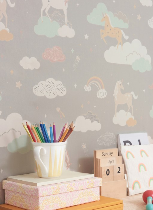Wallpaper Rainbow treasures Hand printed look Matt Unicorns Rainbows Stars Clouds Moss grey Antique pink Cream Light brown beige Pastel green Pale pink