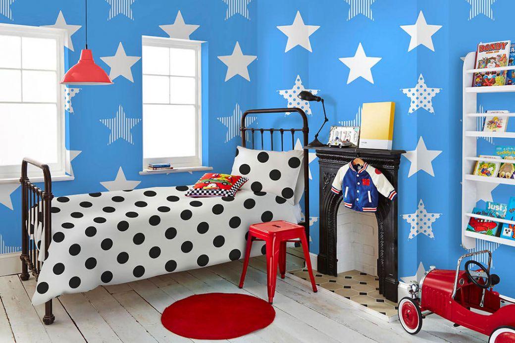 Papel de parede infantil Papel de parede Adenike azul céu Ver quarto