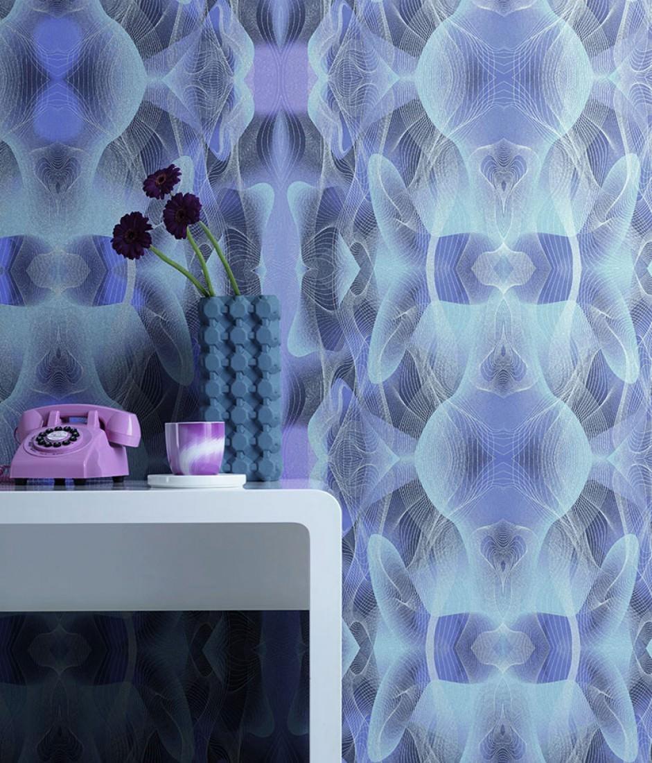 tapete matuta blau lila pastellhellblau saphirblau silber schimmer tapeten der 70er. Black Bedroom Furniture Sets. Home Design Ideas