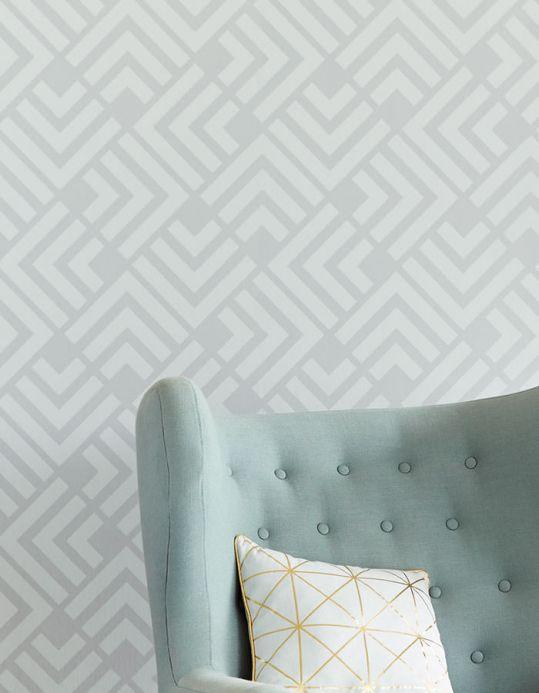Geometric Wallpaper Wallpaper Levitus light grey Room View