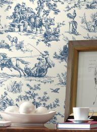 Papel pintado Toile de Jouy azul