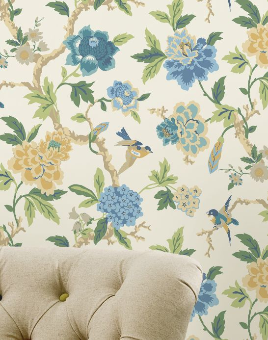 Archiv Wallpaper Sloana light blue Room View