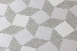 Wallpaper Atropos Shimmering Small squares  Silver grey shimmer Cream White silver