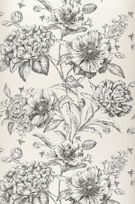 Wallpaper Syros Matt pattern Shimmering base surface Flower tendrils Birds Cream Grey white Light grey Black
