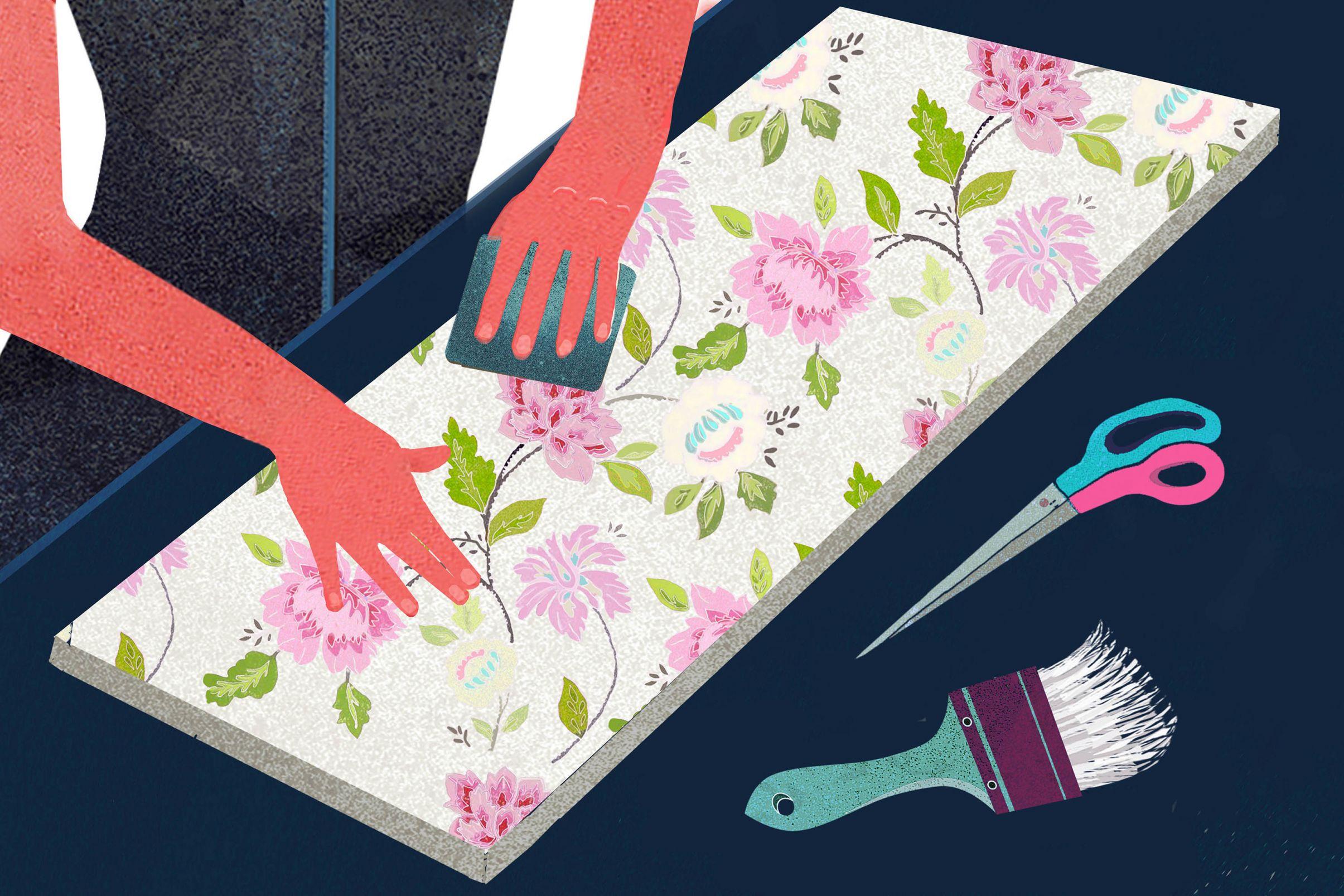 Comment-embellir-des-escaliers-avec-du-papier-peint-Pre-couper-le-papier-peint-et-le-poser