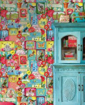Wallpaper Cupido Matt Flowers Buildings Postcards Animals Words Blue Yellow Green Pastel turquoise Red