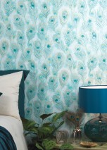 Wallpaper Noelia Matt Feathers Pale turquoise Blue Green Golden yellow Mint turquoise Pastel turquoise Pearl gold
