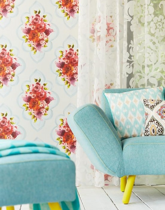 Wallpaper Malona Matt Flower bouquets Floral damask Blue white shimmer Green Light grey blue Lavender Pastel grey blue Red