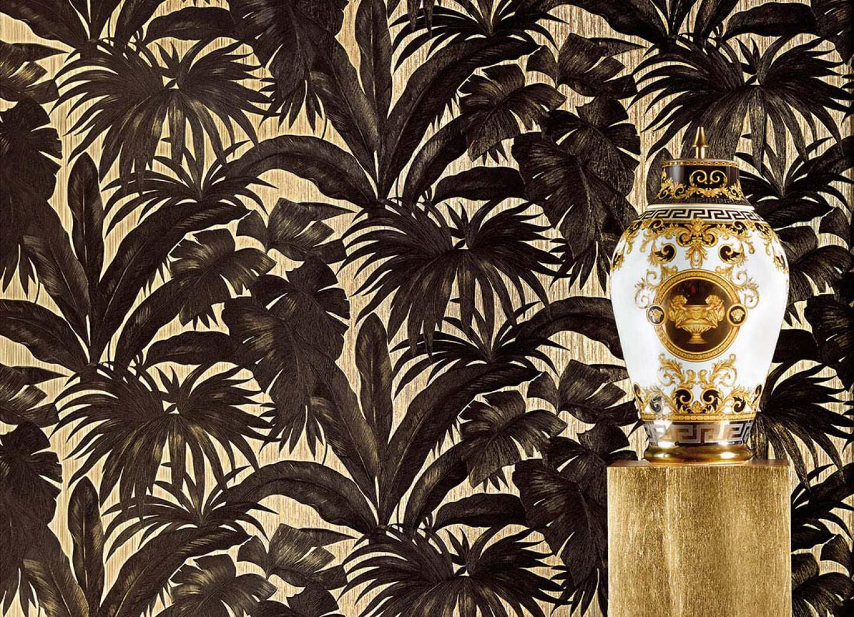 papier peint yasmin beige nacr vert marron noir. Black Bedroom Furniture Sets. Home Design Ideas