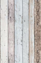 Wallpaper Old Planks Matt Old wooden boards Brown Cream Light grey blue