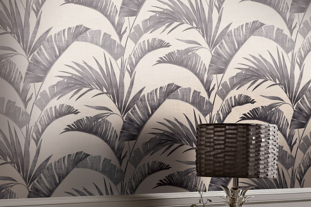 Botanical Wallpaper Wallpaper Jumana grey tones Room View