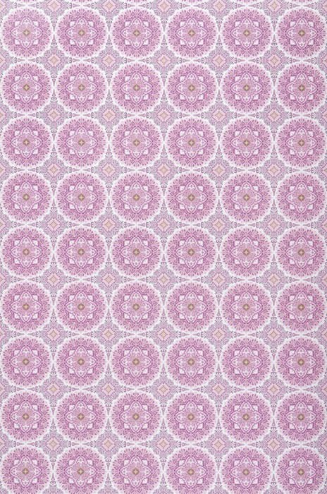 Wallpaper Finola Matt Round ornaments White Pale violet Yellow green Light violet