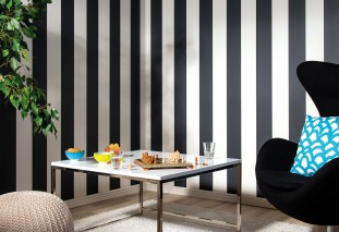 Wallpaper Rigobert Hand printed look Matt Stripes Cream Black