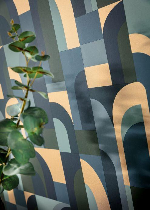 Art Deco Tapeten Tapete Seizo Blaugrau Raumansicht