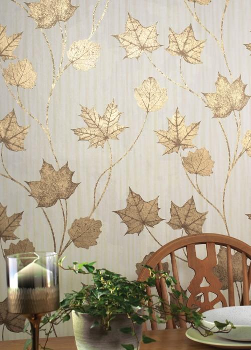 Wallpaper Alissa Shimmering pattern Matt base surface Leaves Cream Pearl gold Sepia brown