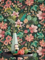 Carta da parati Frederika Effetto stampato a mano Opaco Foglie Fioritura Verde nero Rosso beige Rosso fragola Beige verdastro Toni di verde Rosa pallido