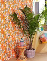 Wallpaper Megara Shimmering pattern Matt base surface Flowers Orange Blue Heather violet Yellow Green Oyster white