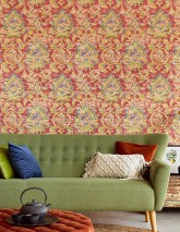 Wallpaper Lompal Matt Shabby chic Looks like textile Ethnic Ornaments Indian Style Orient red Blue Pea green Orange brown   Sand yellow Violet