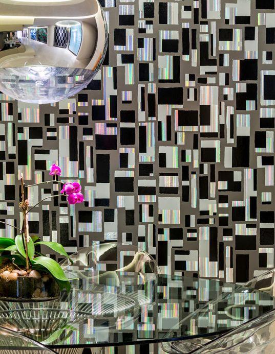 Papier peint géométrique Papier peint City of Light argenté métallique Vue pièce