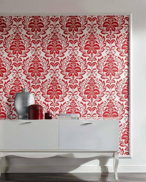 Wallpaper Jumah Matt pattern Shimmering base surface Floral damask Oyster white Red