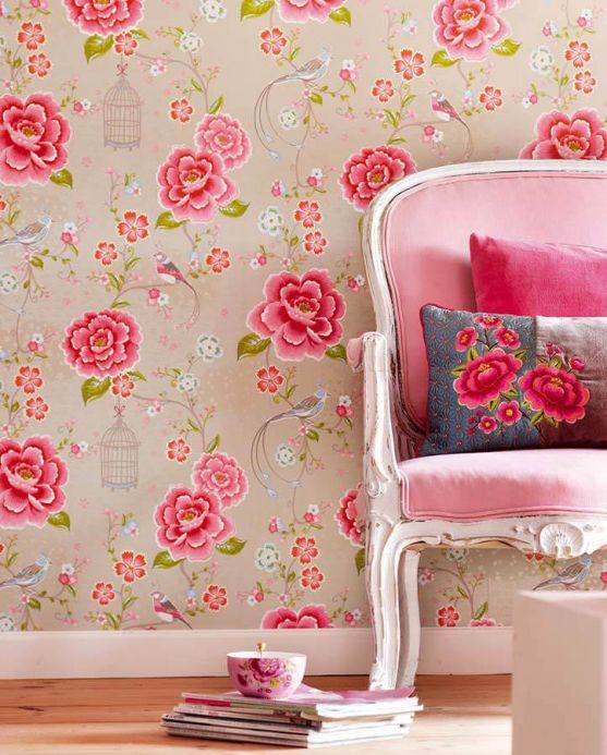 Papel de parede floral Papel de parede Amina bege acinzentado claro Ver quarto