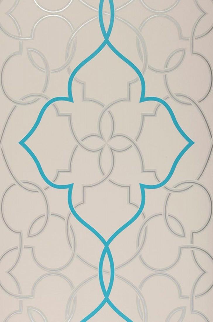 Papier peint gris clair argent lustre bleu turquoise papier peint des ann es 70 - Papier peint bleu turquoise ...