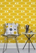Papel de parede Nirvanus Mate Elementos gráficos Elementos retro Amarelo Branco