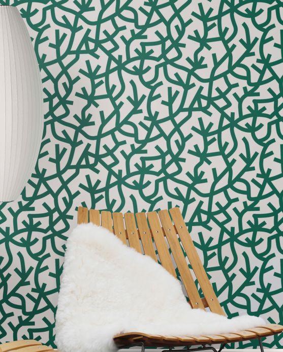 Funky wallpaper Wallpaper Oceane pine green Room View